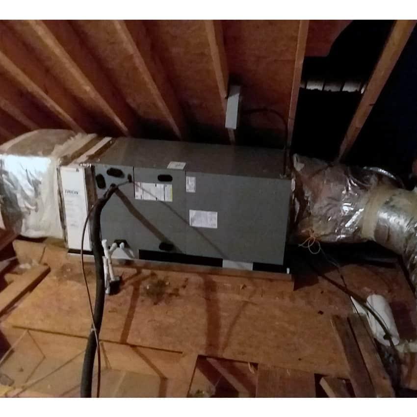 Broken Air Conditioner in a hot attic